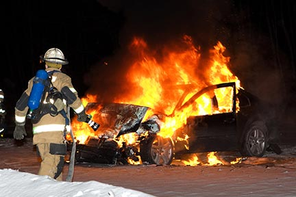 Rescue workers in Baton Rouge must frequently respond to accidents like this car fire. Baton Rouge rescue workers respond to auto accidents, but you need a Baton Rouge Car Accident Attorney to protect your rights. Contact a Baton Rouge, LA auto accident lawyer today.