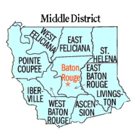 Map of USDC Middle District of Louisiana - Baton Rouge Division